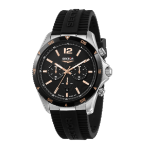 650 45MM CHR SS CASE BLK DIAL BLK SILI S